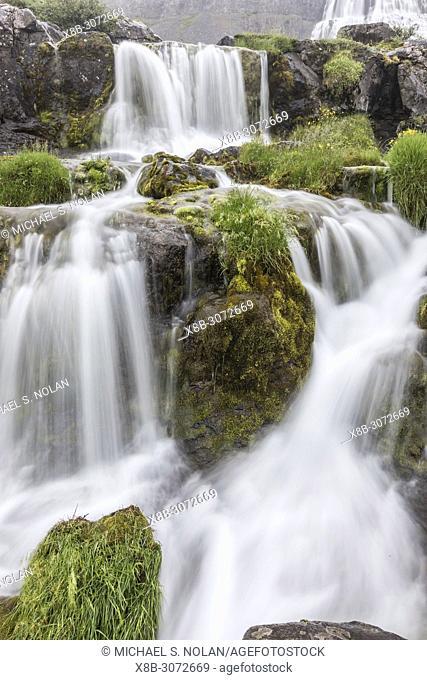 Dynjandi, Fjallfoss, is a series of waterfalls located in the Westfjords, Vestfirðir, Iceland