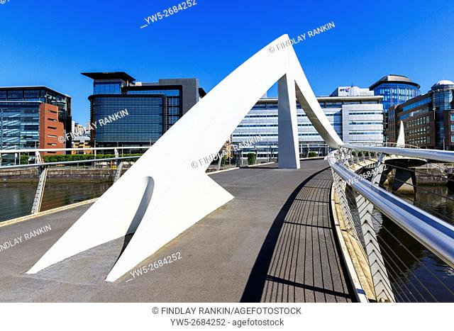 Tradeston Bridge, also known as the Squiggly Bridge crossing the River Clyde from Tradeston district in the south to Anderston District on the north, Glasgow