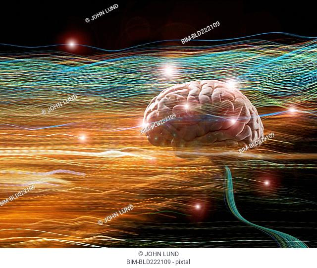 Brain floating in light trails