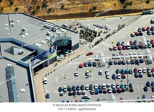 Aerial view of french Leclerc supermarket. France