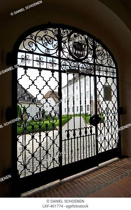 Abbey gates, Fraueninsel, Chiemsee, Chiemgau, Bavaria, Germany