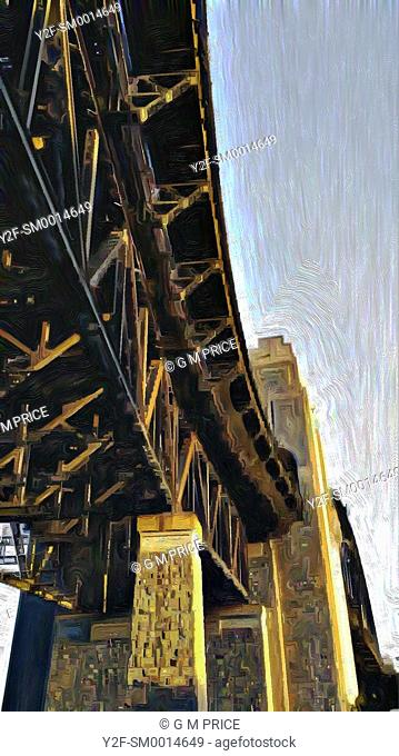 painting filter view of part of Sydney Harbour Bridge