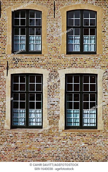 Traditional architectural window details in Brugge Sint Kruis, Brugge Bruges, Belgium