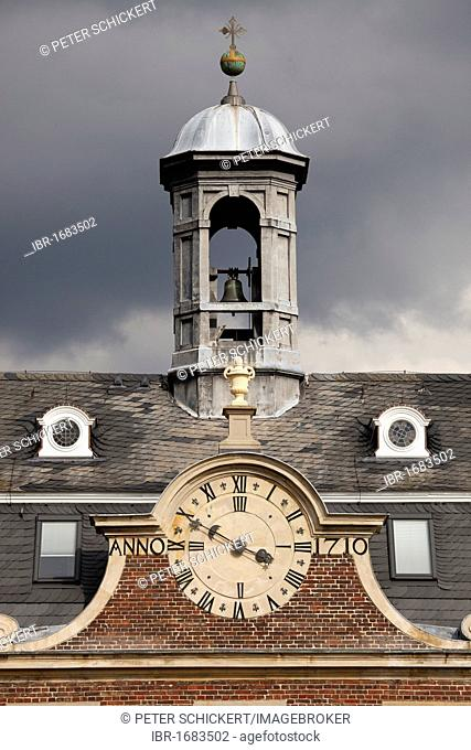 Tower and clock of the chapel of Schloss Nordkirchen castle in the Muensterland region, North Rhine-Westphalia, Germany, Europe