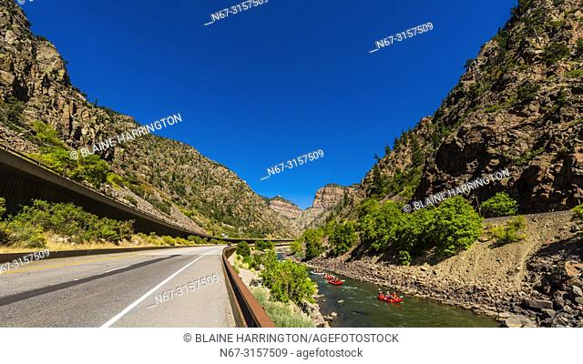Interstate 70 passing through the 12. 5 mile long Glenwood Canyon, near Glenwood Springs, Colorado USA. The road, which includes elevated portions