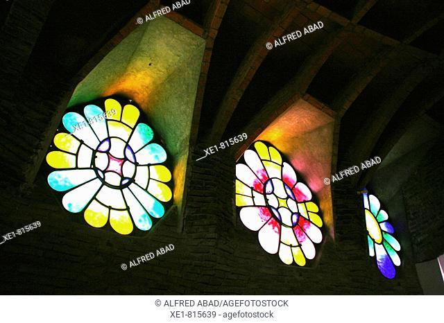 Stained-glass windows in the church of Colonia Güell, Santa Coloma de Cervello. Barcelona province, Catalonia, Spain