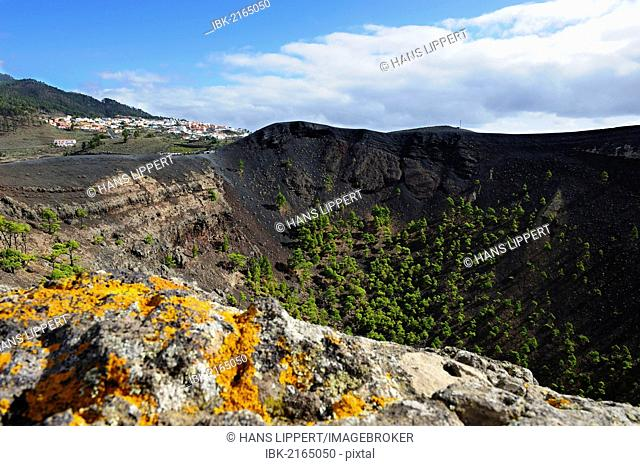 San Antonio volcano near Fuencaliente, town of Los Canarios at back, La Palma, Canary Islands, Spain, Europe, PublicGround