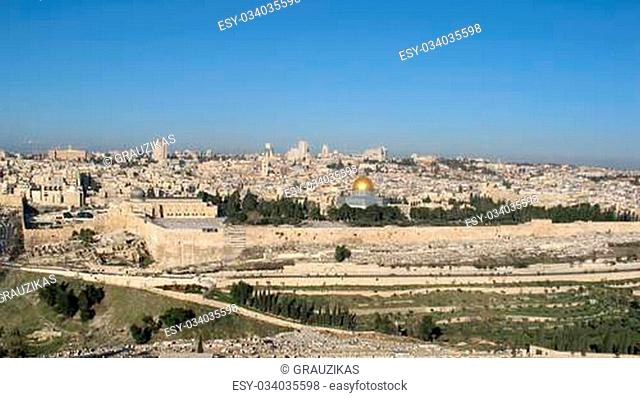 View of Jerusalem from mountain of Olives, (Israel)