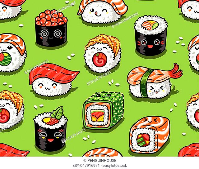 Cute seamless pattern with cartoon rolls and sushi in kawaii style. Tasty japanese food