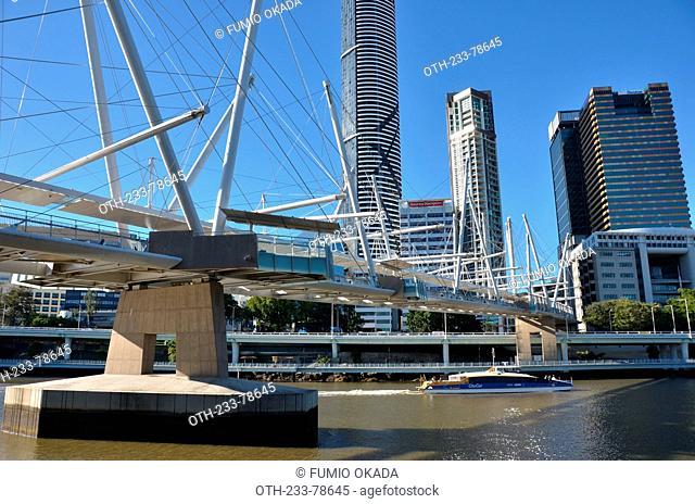 Kurilpa Bridge, a world's largest hybrid tensegrity bridge, 470 metres long, over the Brisbane River in central business district, Brisbane, Queensland