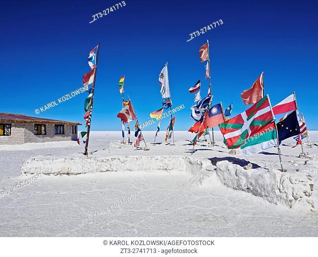 Bolivia, Potosi Department, Daniel Campos Province, View of the Hotel de Sal Playa Blanca, the first salt hotel on Salar de Uyuni