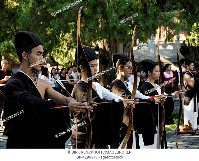 Archers, Ritual event in the Temple of Confucius, Kong miao, Beijing, China
