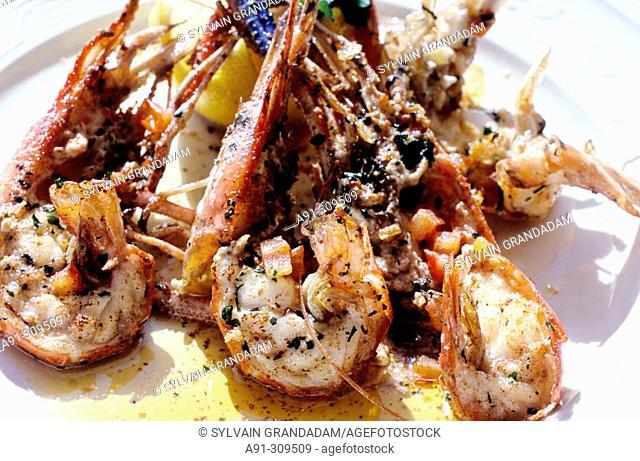 Lobsters, 'Le Saint-Gilles' restaurant on the coastline. St-Gilles-Les Bains, Réunion Island (France)
