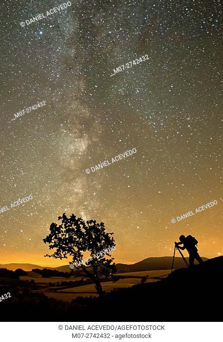 Milky Way around Rioja Alta Wine region, Spain, Europe