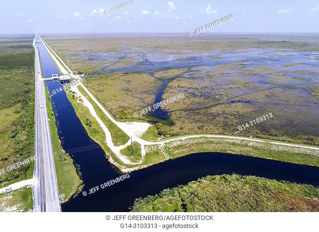 Florida, Miami, Everglades National Park, Tamiami Trail US route 41 highway, Francis S. Taylor Wildlife Management Area, canal, levee dike