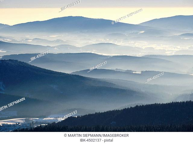 Fog in the valley, view from the Great Arber in snow, Natural Preserve Bavarian Forest, Lower Bavaria, Bavaria, Germany