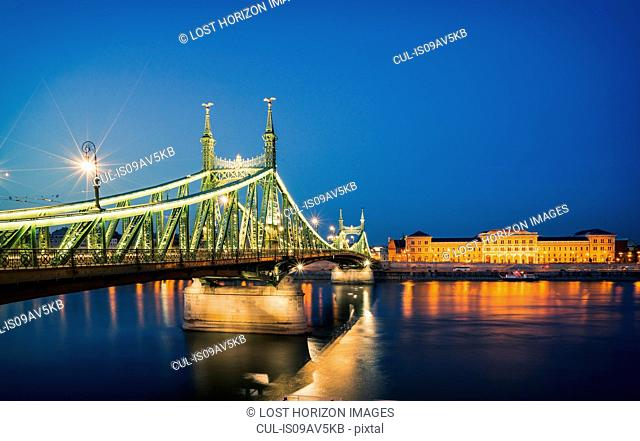 Liberty Bridge illuminated at night on the Danube, Hungary, Budapest