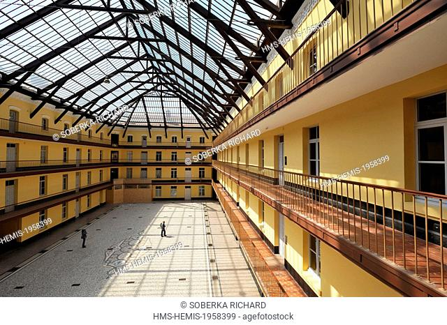 France, Aisne, Guise, Familistere, central pavilion of the Social Palace, canopy over the interior courtyard