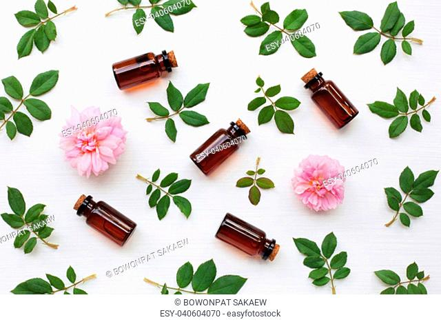 Bottles of essential rose oil for aromatherapy, Huntington Rose