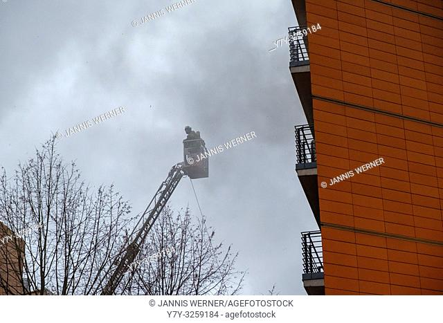 Emergency services respond to fire at Alte Potsdamer Straße next to the Hyatt hotel in Potsdamer Platz in Berlin, Germany on March 4, 2019
