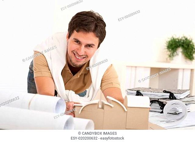 Successful architect man working at office