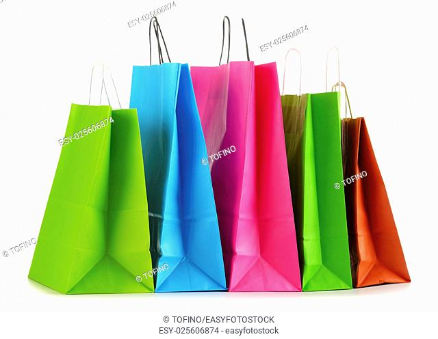 Colorful paper shopping bags isolated on white background