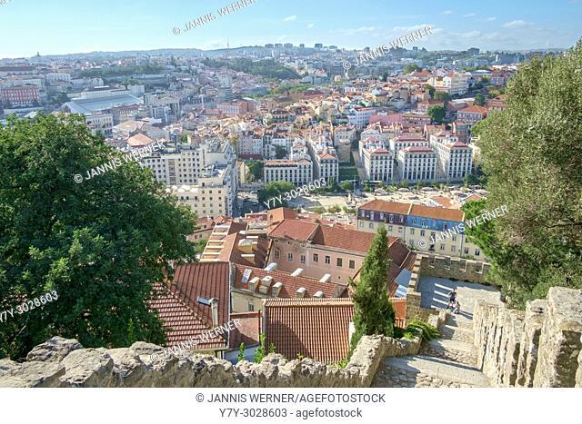 View from the Castelo de Sao Jorge over Lisbon, Portugal