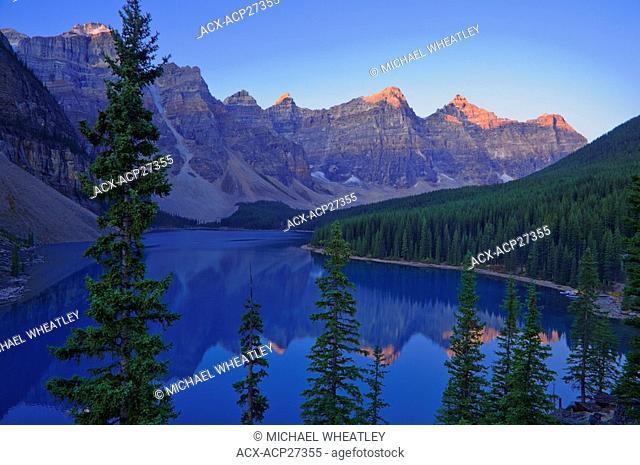 Dawn, Moraine Lake, Banff National Park, Alberta, Canada