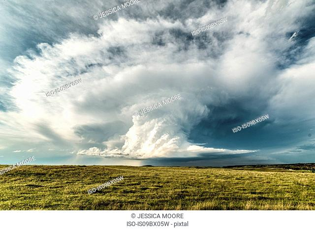 Dramatic supercell storm in southern Montana, perfectly spiralling updraft of a storm, USA