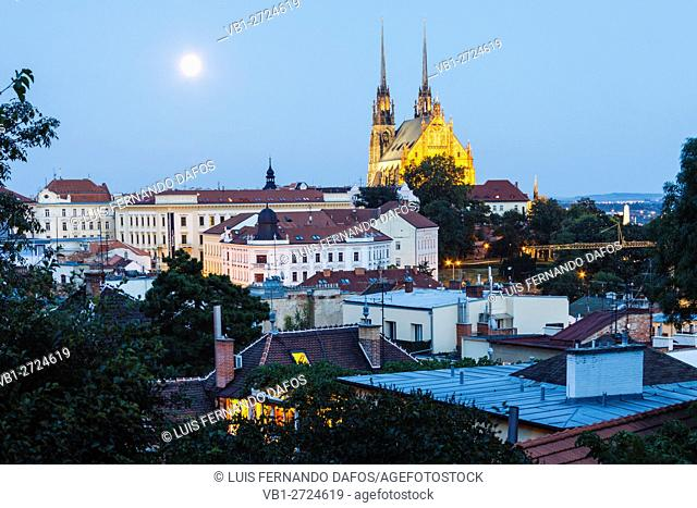 Petrov cathedral and overview with full moon. Brno, Czech Republic