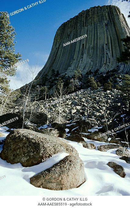 Devil's Tower National Mon. Old snow at base Wyoming