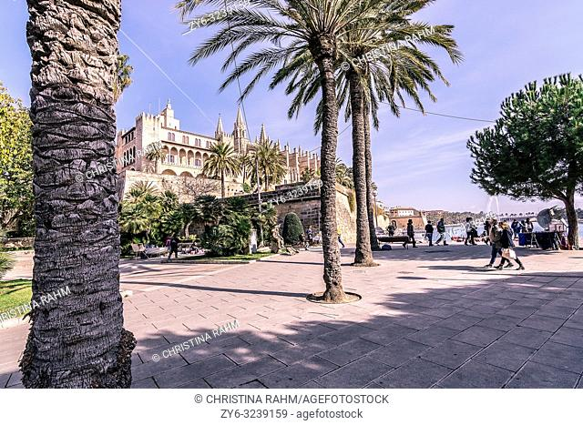 PALMA DE MALLORCA, SPAIN - FEBRUARY 9, 2019: Cathedral La Seu and people on a sunny winter day on February 9, 2019 in Palma de Mallorca, Spain