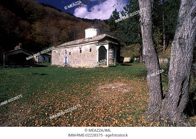 Vigla, Agia Triada Monastery, exterior view, Lake of Prespes, Macedonia West, Greece