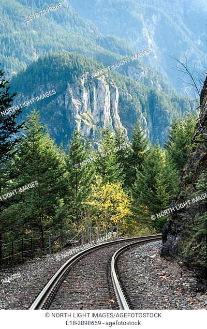 Canada, BC, Yale. Railway tracks run through the scenic Fraser Canyon