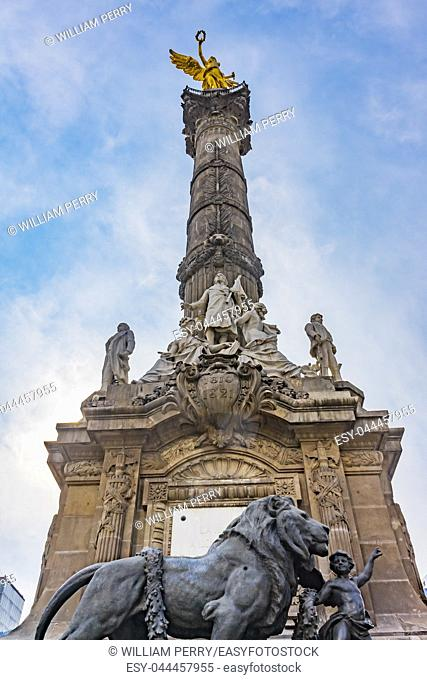 Independence Angel Monument Mexico City Mexico. Built in 1910 celebrating war in early 1800s leading to Independence 1821