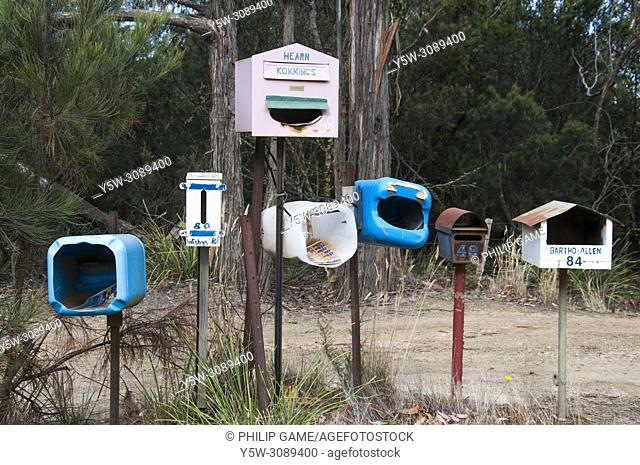 Home-made roadside mailboxes on North Bruny Island, Tasmania, Australia
