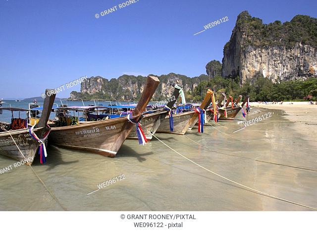Colourful Long Tail Boats, Railay West Beach, Krabi, Thailand