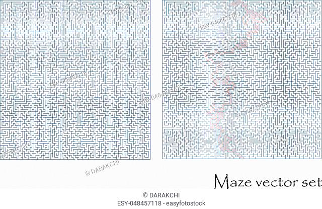 Vector maze set with a solution, labyrinth collection isolated over white background