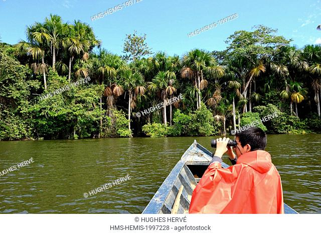 Peru, Madre de Dios department, Amazon, Puerto Maldonado, Tambopata National Reserve, canoeing on Lake Sandoval