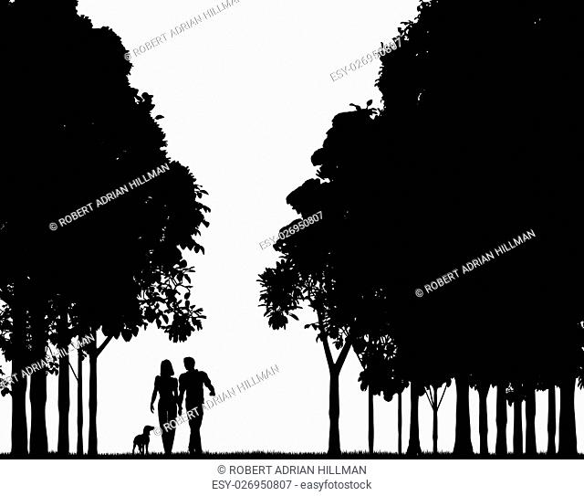 Editable vector silhouette of a couple walking through a wood