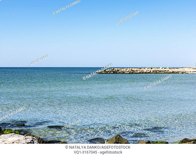 view of the Black Sea on a summer day, Ukraine, the village of Iron Port