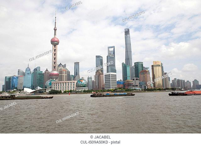 Pudong skyline, including the Oriental pearl tower, Shanghai, China