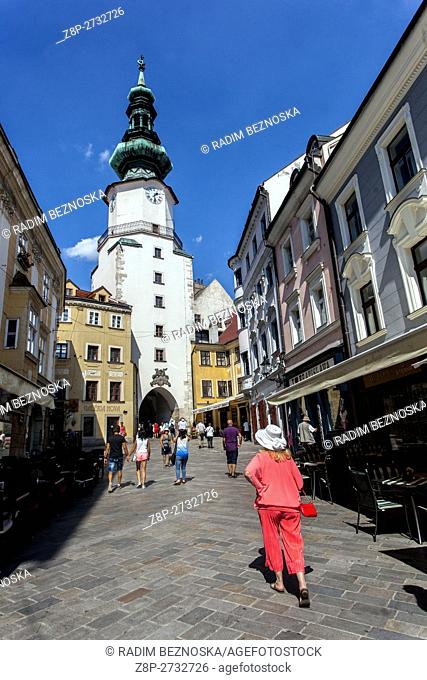 Michalska street and St Michael's Gate and Tower in Old Town area, Bratislava, Slovakia, Europa