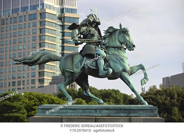 Statue of Kusunoki Masashige in the Imperial Plaza in Tokyo,Japan,Asia
