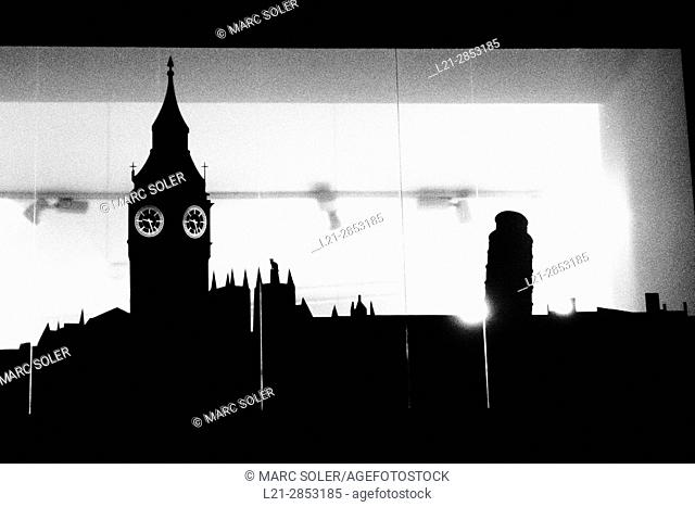 Big Ben silhouette on a glass wall