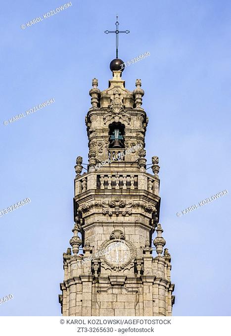 Clerigos Tower, detailed view, Porto, Portugal