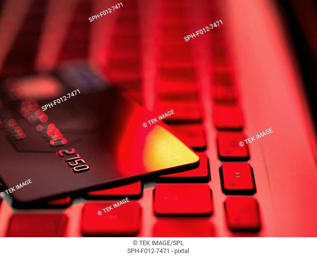 Credit card sitting on a laptop