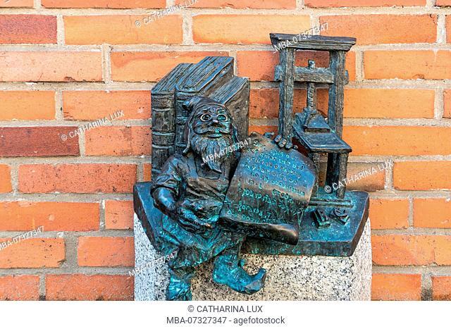 Poland, Wroclaw, Wroclaw's dwarfs, former symbol of resistance, book printer