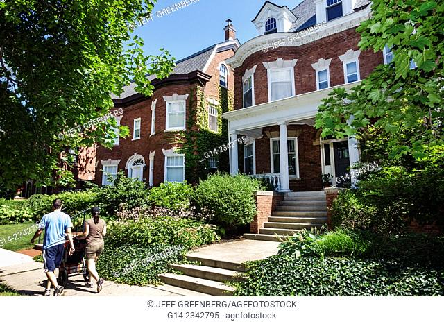 Illinois, Chicago, South Side, South Woodlawn Avenue, houses, homes, mansions, woman, man, couple, family, stroller, walking