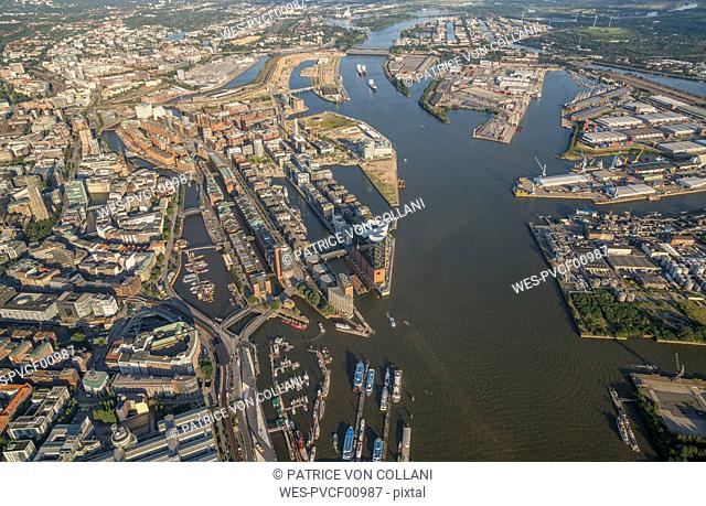 Germany, Hamburg, aerial view of Speicherstadt with Elbphilharmonie